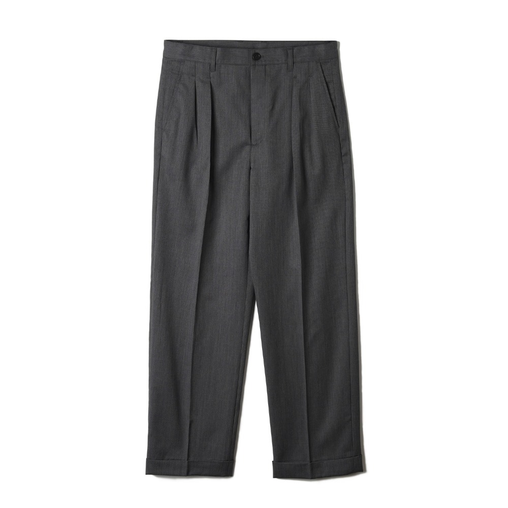 "BANTS OSF Wool Two-tuck Wide Pants ""Grey"""