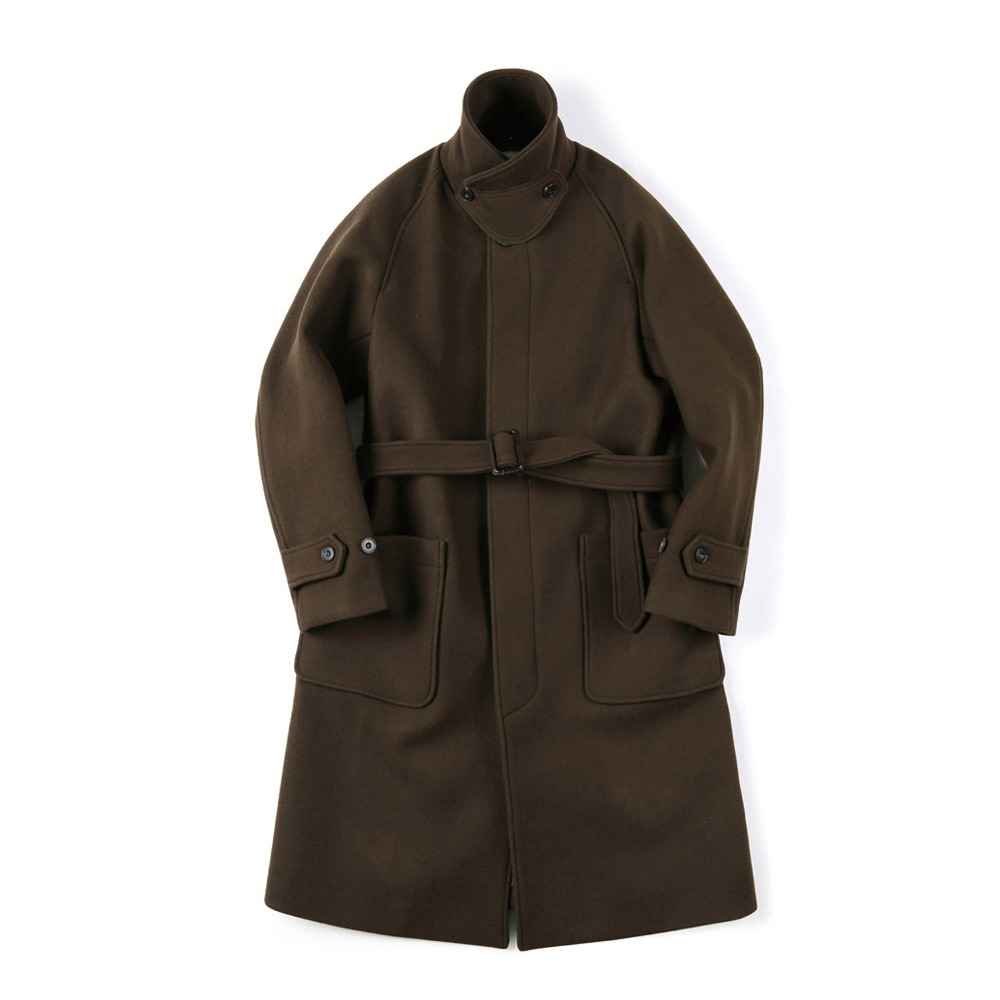 "SHIRTER Belted Soutien Wool Coat ""Dark Brown"""
