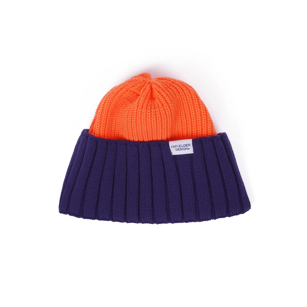 "INFIELDER DESIGNS AC Watch Cap ""Orange / Navy"""