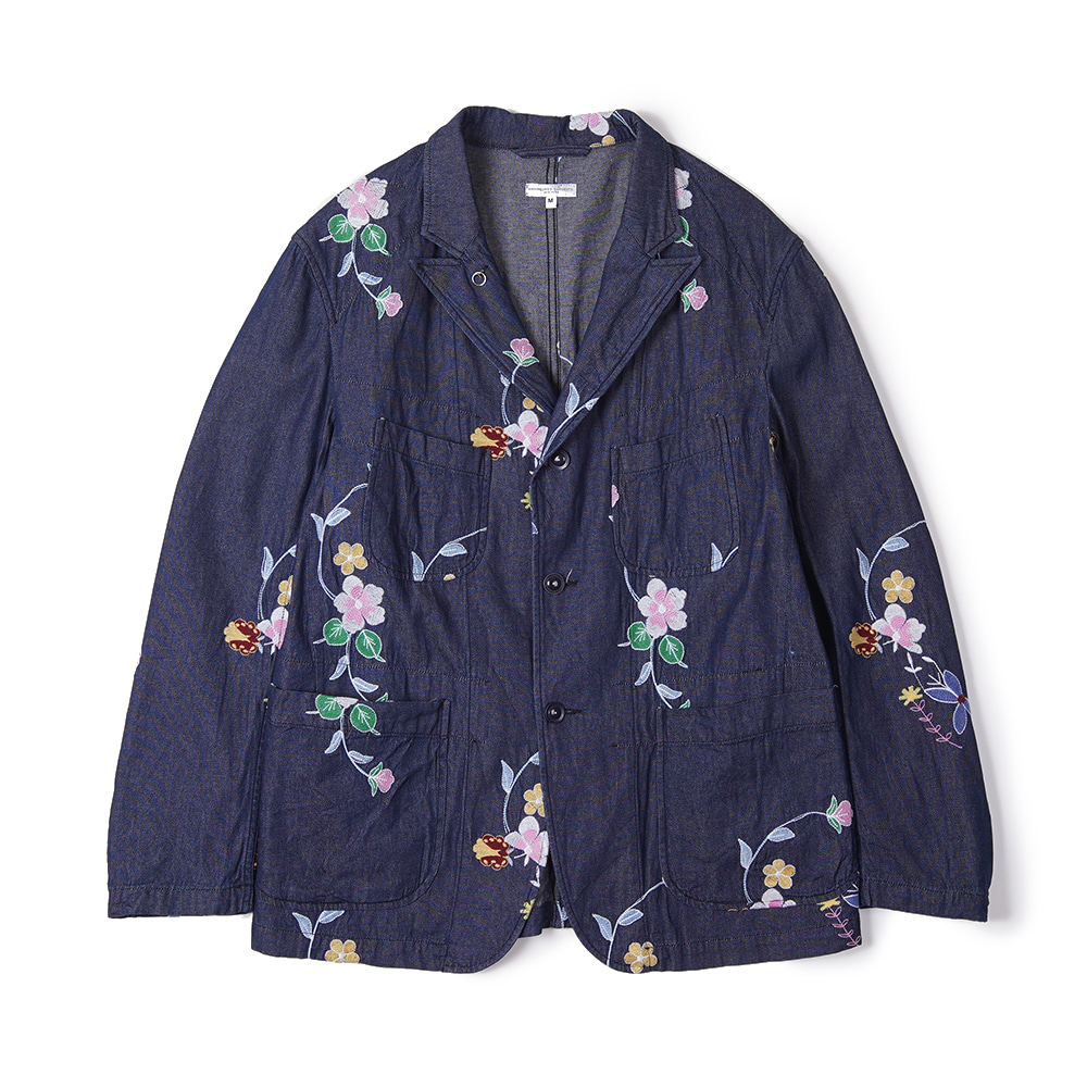 "ENGINEERED GARMENTS Bedford Jacket ""Indigo Denim Floral Embroidery"""